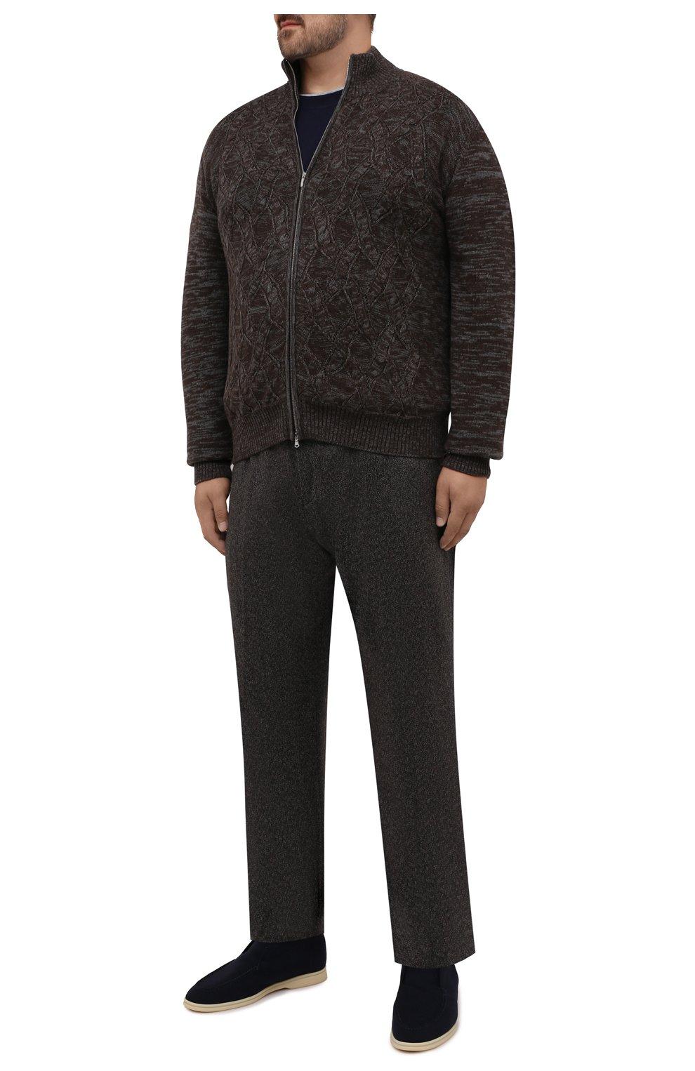 Мужские брюки из кашемира и шерсти MARCO PESCAROLO коричневого цвета, арт. CHIAIAM/ZIP+RIS/4458 | Фото 2 (Big sizes: Big Sizes; Материал внешний: Шерсть, Кашемир; Длина (брюки, джинсы): Стандартные; Случай: Повседневный; Стили: Кэжуэл)