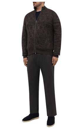 Мужские брюки из кашемира и шерсти MARCO PESCAROLO коричневого цвета, арт. CHIAIAM/ZIP+RIS/4458 | Фото 2 (Длина (брюки, джинсы): Стандартные; Материал внешний: Шерсть, Кашемир; Случай: Повседневный; Стили: Кэжуэл; Big sizes: Big Sizes)