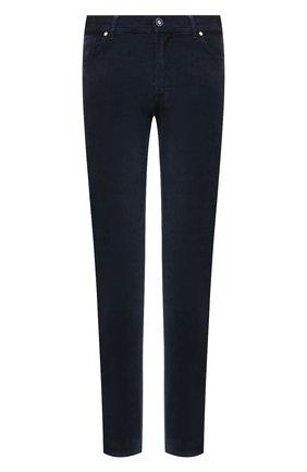 Мужские брюки из хлопка и кашемира MARCO PESCAROLO темно-синего цвета, арт. NERAN0M18/ZIP/4405 | Фото 1 (Материал внешний: Хлопок; Случай: Повседневный; Стили: Кэжуэл; Длина (брюки, джинсы): Стандартные)