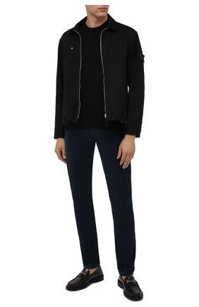 Мужские брюки из хлопка и кашемира MARCO PESCAROLO темно-синего цвета, арт. NERAN0M18/ZIP/4405 | Фото 2 (Материал внешний: Хлопок; Случай: Повседневный; Стили: Кэжуэл; Длина (брюки, джинсы): Стандартные)