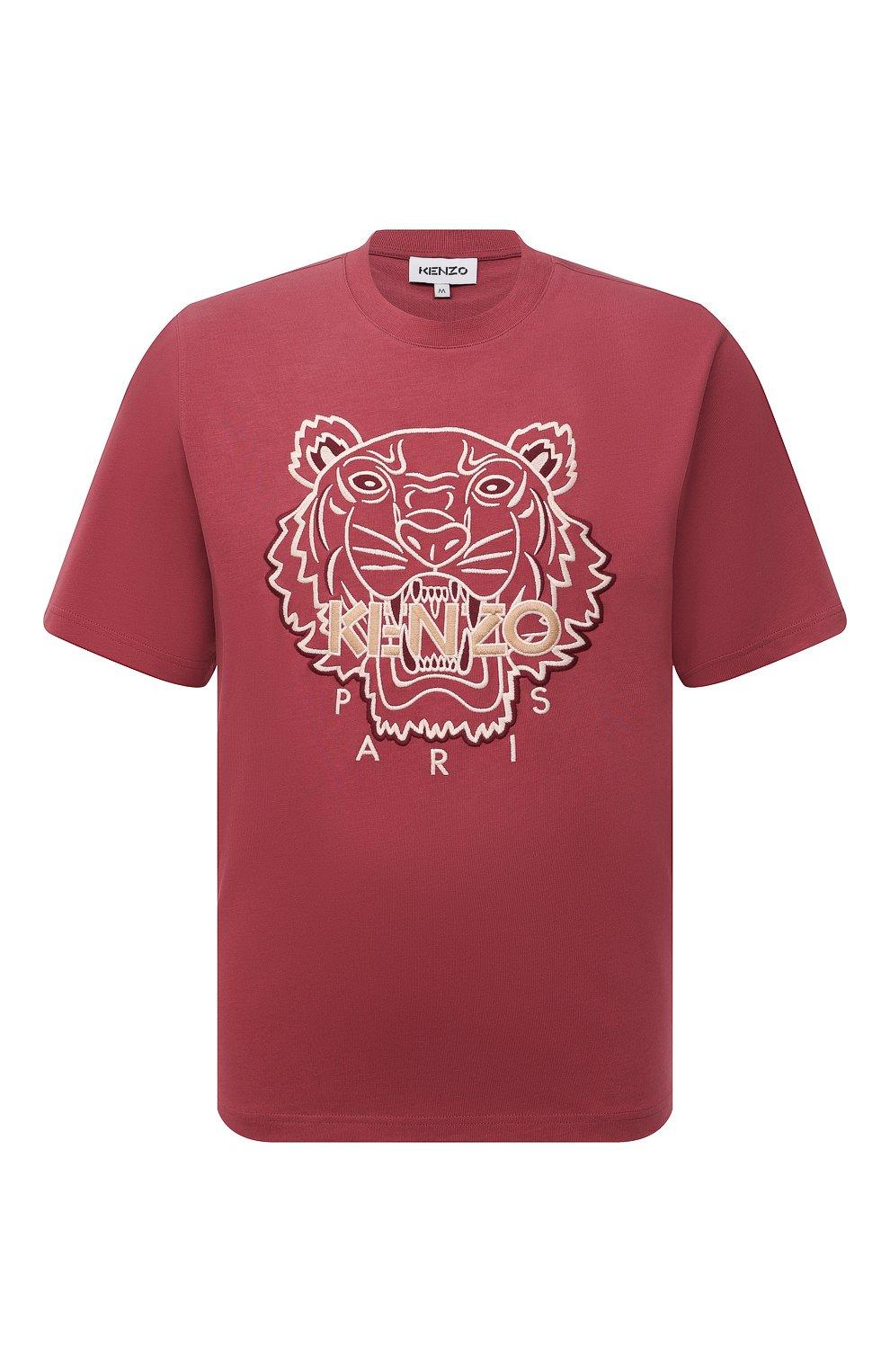 Мужская хлопковая футболка KENZO бордового цвета, арт. FB65TS0914YH   Фото 1 (Рукава: Короткие; Длина (для топов): Стандартные; Принт: С принтом; Материал внешний: Хлопок; Стили: Кэжуэл)