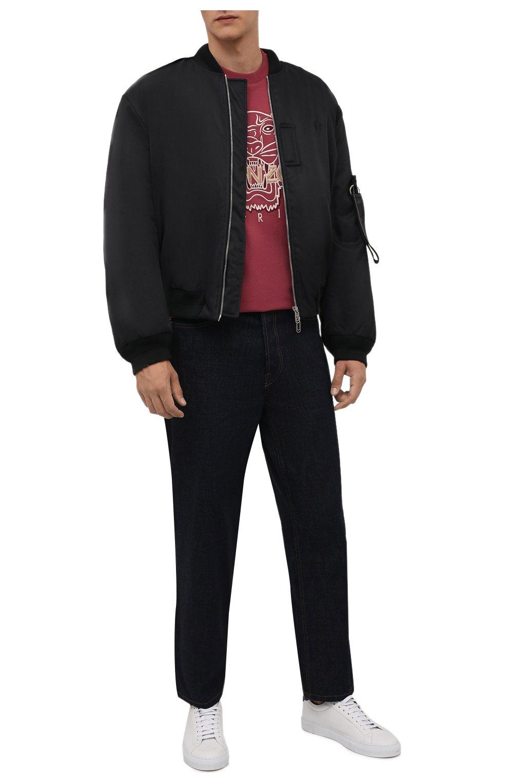 Мужская хлопковая футболка KENZO бордового цвета, арт. FB65TS0914YH   Фото 2 (Рукава: Короткие; Длина (для топов): Стандартные; Принт: С принтом; Материал внешний: Хлопок; Стили: Кэжуэл)