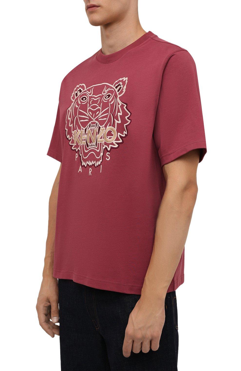 Мужская хлопковая футболка KENZO бордового цвета, арт. FB65TS0914YH   Фото 3 (Рукава: Короткие; Длина (для топов): Стандартные; Принт: С принтом; Материал внешний: Хлопок; Стили: Кэжуэл)