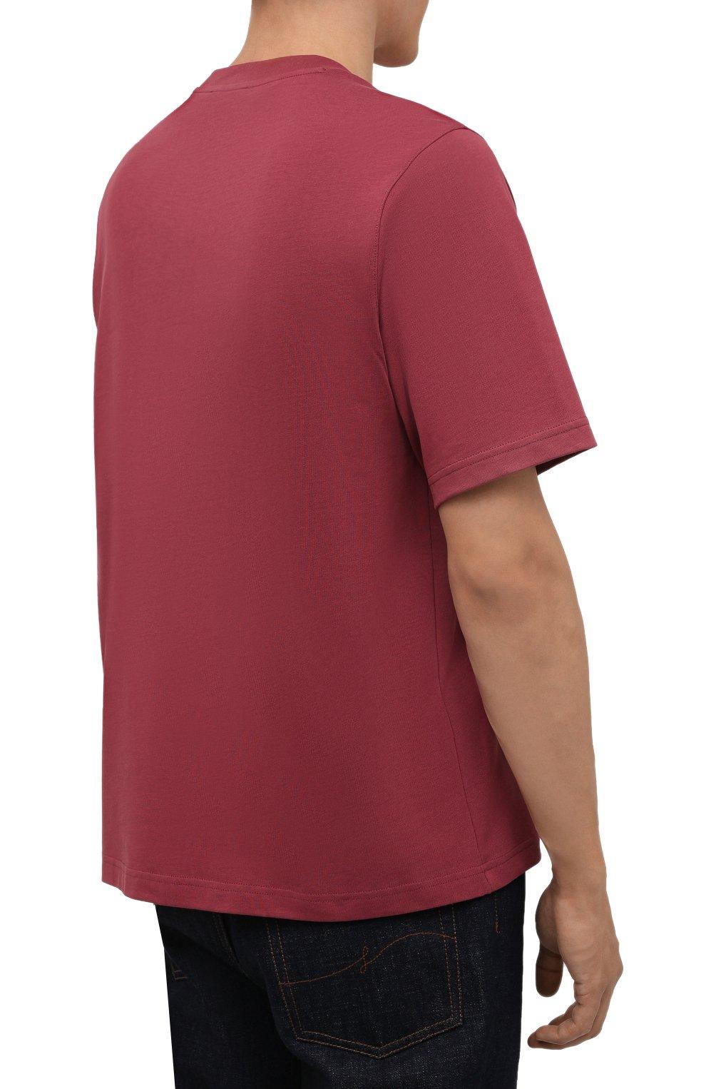 Мужская хлопковая футболка KENZO бордового цвета, арт. FB65TS0914YH   Фото 4 (Рукава: Короткие; Длина (для топов): Стандартные; Принт: С принтом; Материал внешний: Хлопок; Стили: Кэжуэл)