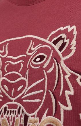 Мужская хлопковая футболка KENZO бордового цвета, арт. FB65TS0914YH   Фото 5 (Рукава: Короткие; Длина (для топов): Стандартные; Принт: С принтом; Материал внешний: Хлопок; Стили: Кэжуэл)