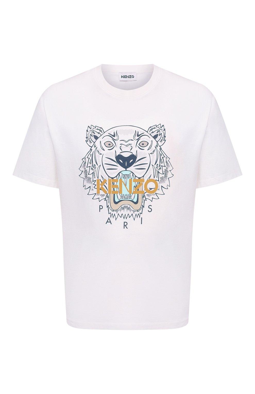 Мужская хлопковая футболка KENZO белого цвета, арт. FB65TS0204YA | Фото 1 (Рукава: Короткие; Длина (для топов): Стандартные; Принт: С принтом; Материал внешний: Хлопок; Стили: Кэжуэл)