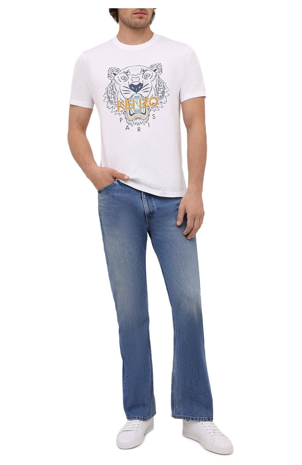 Мужская хлопковая футболка KENZO белого цвета, арт. FB65TS0204YA | Фото 2 (Рукава: Короткие; Длина (для топов): Стандартные; Принт: С принтом; Материал внешний: Хлопок; Стили: Кэжуэл)