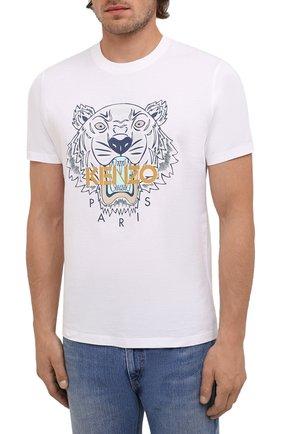 Мужская хлопковая футболка KENZO белого цвета, арт. FB65TS0204YA | Фото 3 (Рукава: Короткие; Длина (для топов): Стандартные; Принт: С принтом; Материал внешний: Хлопок; Стили: Кэжуэл)