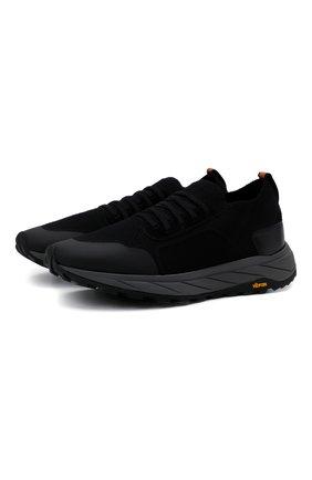 Мужские комбинированные кроссовки H`D`S`N BARACCO черного цвета, арт. ARES.GN.0* | Фото 1 (Материал внутренний: Текстиль, Натуральная кожа; Подошва: Массивная; Материал внешний: Текстиль; Стили: Спорт)