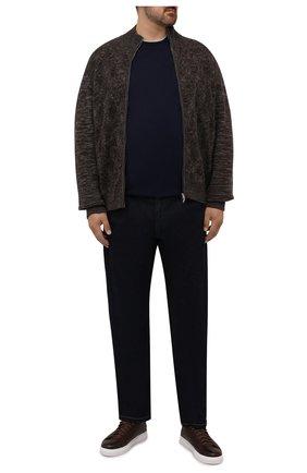 Мужской кардиган из шерсти и кашемира CORTIGIANI коричневого цвета, арт. 219145/0000/60-70 | Фото 2 (Материал внешний: Шерсть; Мужское Кросс-КТ: Кардиган-одежда; Стили: Кэжуэл; Big sizes: Big Sizes; Длина (для топов): Стандартные; Рукава: Длинные)