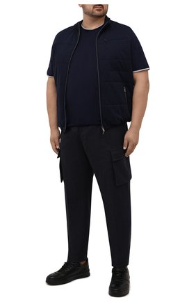 Мужские брюки-карго из шерсти и хлопка CORTIGIANI темно-синего цвета, арт. 213604/0000/2295/60-70 | Фото 2