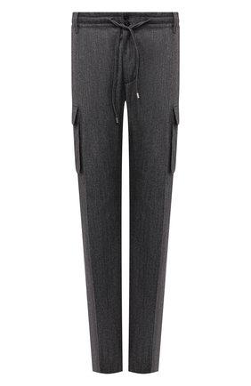 Мужские брюки-карго из шерсти и хлопка CORTIGIANI серого цвета, арт. 213604/0000/2295/60-70 | Фото 1 (Материал внешний: Хлопок, Шерсть; Случай: Повседневный; Силуэт М (брюки): Карго; Стили: Кэжуэл; Big sizes: Big Sizes; Длина (брюки, джинсы): Стандартные)