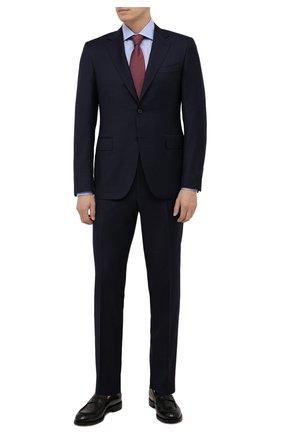 Мужской шерстяной костюм CANALI темно-синего цвета, арт. 11280/19/BF00070 | Фото 1 (Материал подклада: Купро; Материал внешний: Шерсть; Костюмы М: Однобортный; Стили: Классический; Рукава: Длинные)
