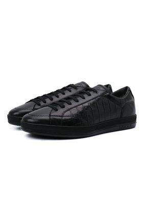 Мужские кожаные кеды DOUCAL'S черного цвета, арт. DU1773GENTPM223NN00 | Фото 1 (Материал утеплителя: Натуральный мех; Подошва: Массивная)