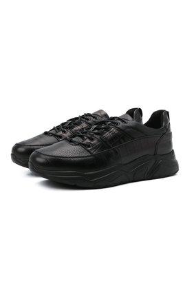Мужские кожаные кроссовки DOUCAL'S черного цвета, арт. DU2625JUSTPX377NN00 | Фото 1 (Материал внутренний: Текстиль; Материал утеплителя: Натуральный мех; Стили: Классический; Подошва: Массивная)