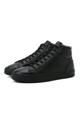 Мужские кожаные кеды DOUCAL'S черного цвета, арт. DU2886K0BEUM019NN00 | Фото 1 (Материал утеплителя: Натуральный мех)
