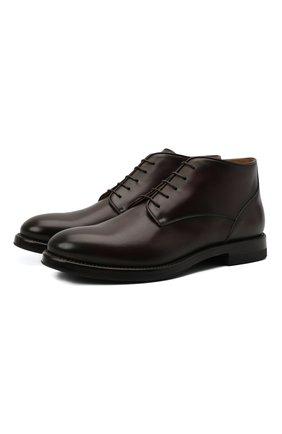 Мужские кожаные ботинки W.GIBBS темно-коричневого цвета, арт. 0220008/2302 | Фото 1 (Материал внутренний: Натуральная кожа; Мужское Кросс-КТ: Ботинки-обувь; Подошва: Плоская)