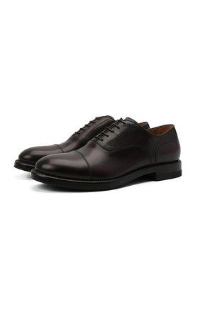 Мужские кожаные оксфорды W.GIBBS темно-бордового цвета, арт. 0220009/2302 | Фото 1 (Материал внутренний: Натуральная кожа; Стили: Классический)