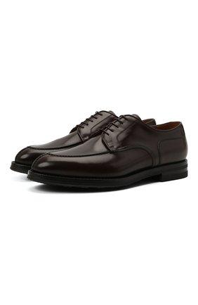 Мужские кожаные дерби W.GIBBS темно-коричневого цвета, арт. 0639010/0149 | Фото 1 (Материал внутренний: Натуральная кожа; Стили: Классический)