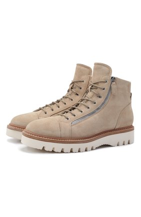 Мужские замшевые ботинки W.GIBBS светло-бежевого цвета, арт. 0672001/2575 | Фото 1 (Материал утеплителя: Натуральный мех; Материал внешний: Замша; Мужское Кросс-КТ: Ботинки-обувь, зимние ботинки; Подошва: Массивная)