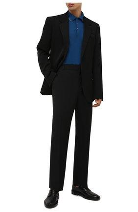 Мужское поло из шерсти и кашемира FIORONI синего цвета, арт. MK00T0C1 | Фото 2 (Материал внешний: Шерсть; Застежка: Пуговицы; Кросс-КТ: Трикотаж; Рукава: Длинные; Стили: Кэжуэл; Длина (для топов): Стандартные)