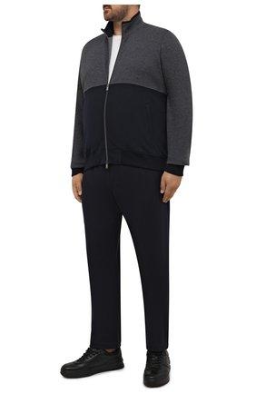 Мужской спортивный костюм из хлопка и кашемира CAPOBIANCO темно-синего цвета, арт. 11MT28.M000./58-60 | Фото 1 (Материал подклада: Хлопок; Рукава: Длинные; Материал внешний: Хлопок; Кросс-КТ: Спорт; Big sizes: Big Sizes)