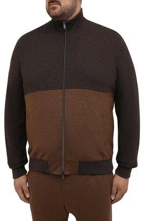Мужской спортивный костюм из хлопка и кашемира CAPOBIANCO коричневого цвета, арт. 11MT28.M000./58-60 | Фото 2