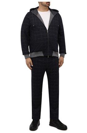 Мужской спортивный костюм из шерсти и хлопка CAPOBIANCO темно-синего цвета, арт. 11MT17.QU00./58-60 | Фото 1 (Рукава: Длинные; Материал внешний: Хлопок, Шерсть; Материал подклада: Хлопок; Кросс-КТ: Спорт; Big sizes: Big Sizes)