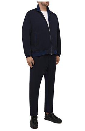 Мужской спортивный костюм из хлопка и шерсти CAPOBIANCO темно-синего цвета, арт. 11MT06.DF00./62-68 | Фото 1