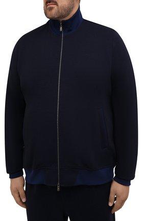 Мужской спортивный костюм из хлопка и шерсти CAPOBIANCO темно-синего цвета, арт. 11MT06.DF00./62-68 | Фото 2