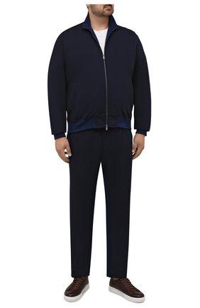 Мужской спортивный костюм из хлопка и шерсти CAPOBIANCO темно-синего цвета, арт. 11MT06.DF00./58-60 | Фото 1