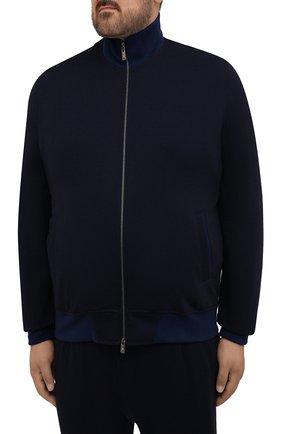 Мужской спортивный костюм из хлопка и шерсти CAPOBIANCO темно-синего цвета, арт. 11MT06.DF00./58-60 | Фото 2