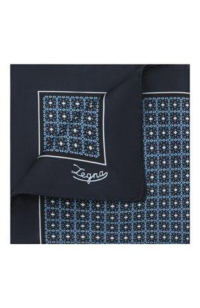 Мужской шелковый платок ERMENEGILDO ZEGNA темно-синего цвета, арт. Z2J03A/39A | Фото 1 (Материал: Шелк, Текстиль)