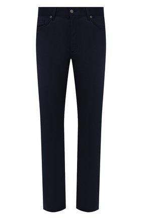 Мужские шерстяные брюки ERMENEGILDO ZEGNA синего цвета, арт. UVP03/GAN | Фото 1 (Материал внешний: Шерсть; Длина (брюки, джинсы): Стандартные; Случай: Повседневный; Стили: Кэжуэл)