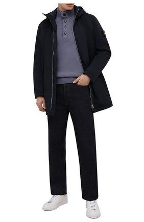 Мужской шерстяной свитер STONE ISLAND синего цвета, арт. 7515540A3 | Фото 2 (Материал внешний: Шерсть; Мужское Кросс-КТ: Свитер-одежда; Рукава: Длинные; Длина (для топов): Стандартные; Принт: Без принта; Стили: Кэжуэл)