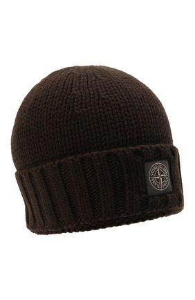 Мужская шерстяная шапка STONE ISLAND темно-коричневого цвета, арт. 7515N17D6 | Фото 1 (Материал: Шерсть; Кросс-КТ: Трикотаж)