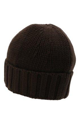 Мужская шерстяная шапка STONE ISLAND темно-коричневого цвета, арт. 7515N17D6 | Фото 2 (Материал: Шерсть; Кросс-КТ: Трикотаж)