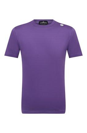 Мужская хлопковая футболка STONE ISLAND SHADOW PROJECT фиолетового цвета, арт. 751920105   Фото 1 (Материал внешний: Хлопок; Рукава: Короткие; Длина (для топов): Стандартные; Принт: Без принта; Стили: Гранж)