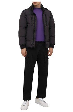 Мужская хлопковая футболка STONE ISLAND SHADOW PROJECT фиолетового цвета, арт. 751920105   Фото 2 (Материал внешний: Хлопок; Рукава: Короткие; Длина (для топов): Стандартные; Принт: Без принта; Стили: Гранж)