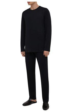 Мужские хлопковые домашние брюки HANRO черного цвета, арт. 075435 | Фото 2 (Материал внешний: Хлопок; Кросс-КТ: домашняя одежда; Длина (брюки, джинсы): Стандартные)