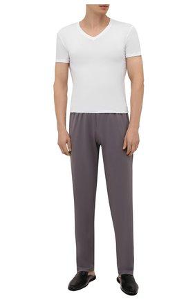 Мужские хлопковые домашние брюки HANRO серого цвета, арт. 075435 | Фото 2 (Материал внешний: Хлопок; Кросс-КТ: домашняя одежда; Длина (брюки, джинсы): Стандартные)