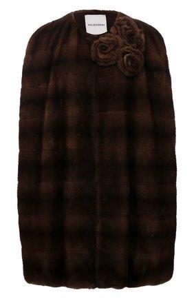 Женская накидка из меха норки VALENTINO коричневого цвета, арт. WF3FJN251BF   Фото 1 (Длина (верхняя одежда): Короткие; Материал подклада: Шелк; Женское Кросс-КТ: Мех; Стили: Романтичный)