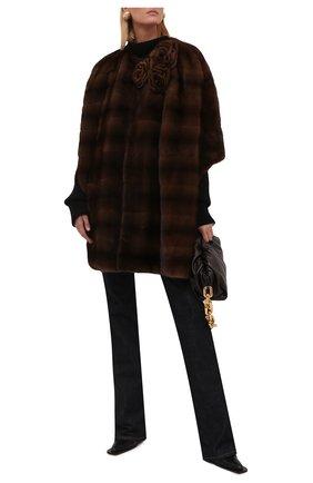 Женская накидка из меха норки VALENTINO коричневого цвета, арт. WF3FJN251BF   Фото 2 (Длина (верхняя одежда): Короткие; Материал подклада: Шелк; Женское Кросс-КТ: Мех; Стили: Романтичный)
