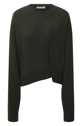 Женский шерстяной пуловер KENZO хаки цвета, арт. FB62PU6023AD | Фото 1 (Длина (для топов): Стандартные; Рукава: Длинные; Материал внешний: Шерсть; Женское Кросс-КТ: Пуловер-одежда; Стили: Кэжуэл)