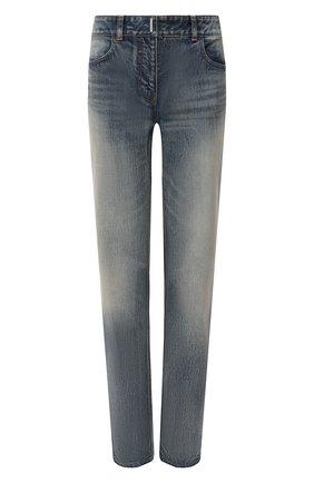 Женские джинсы GIVENCHY синего цвета, арт. BW50Q550MY   Фото 1 (Длина (брюки, джинсы): Стандартные; Материал внешний: Хлопок; Кросс-КТ: Деним; Детали: Потертости; Силуэт Ж (брюки и джинсы): Прямые; Стили: Гранж)