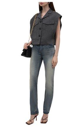 Женские джинсы GIVENCHY синего цвета, арт. BW50Q550MY   Фото 2 (Длина (брюки, джинсы): Стандартные; Материал внешний: Хлопок; Кросс-КТ: Деним; Детали: Потертости; Силуэт Ж (брюки и джинсы): Прямые; Стили: Гранж)