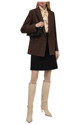 Женские кожаные сапоги sr prince SERGIO ROSSI кремвого цвета, арт. A95960-MNAN07   Фото 2 (Материал внутренний: Натуральная кожа; Каблук тип: Шпилька; Каблук высота: Высокий; Подошва: Плоская; Высота голенища: Средние)