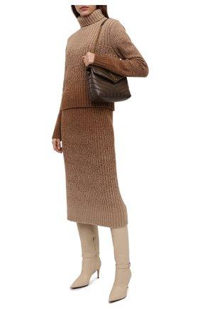 Женская кашемировая юбка LORO PIANA бежевого цвета, арт. FAL7817 | Фото 2 (Материал внешний: Кашемир, Шерсть; Длина Ж (юбки, платья, шорты): Миди; Женское Кросс-КТ: Юбка-одежда; Кросс-КТ: Трикотаж; Стили: Кэжуэл)