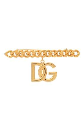 Женская брошь DOLCE & GABBANA золотого цвета, арт. WPN6P4/W1111 | Фото 1 (Материал: Металл)