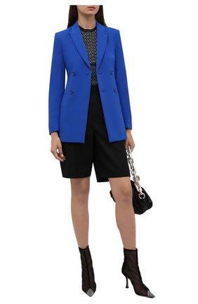Женский двубортный жакет REDVALENTINO синего цвета, арт. WR0CED00/2EU   Фото 2 (Материал внешний: Вискоза, Синтетический материал; Рукава: Длинные; Материал подклада: Синтетический материал; Длина (для топов): Стандартные; Женское Кросс-КТ: Жакет-одежда; 1-2-бортные: Двубортные; Стили: Кэжуэл; Случай: Повседневный)